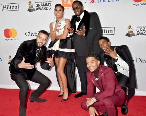 french-montana-cassie-sean-diddy-combs-justin-dior-combs-christian-combs-clive-davis-recording-academy-pre-grammy-gala